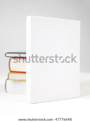 Four Blank book cover on white background - stock photo