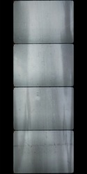 four blank 16mm film frames with scratches, dust texture and nice light reflection layer, empty motion picture film windows.