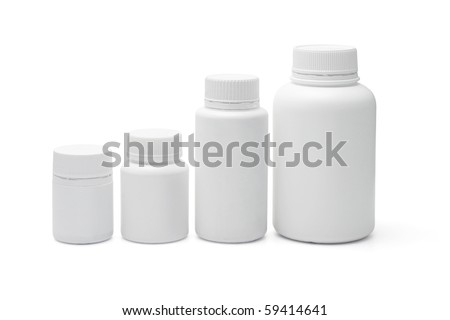 Four blank plastic containers for medicine on white background