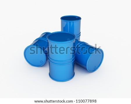 Four blue barrels