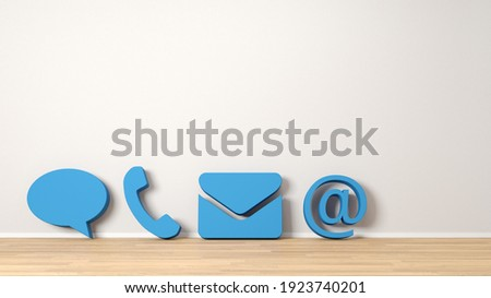 Four blue contact icons as customer service and hotline concept on wall (3D Rendering) Stock photo ©