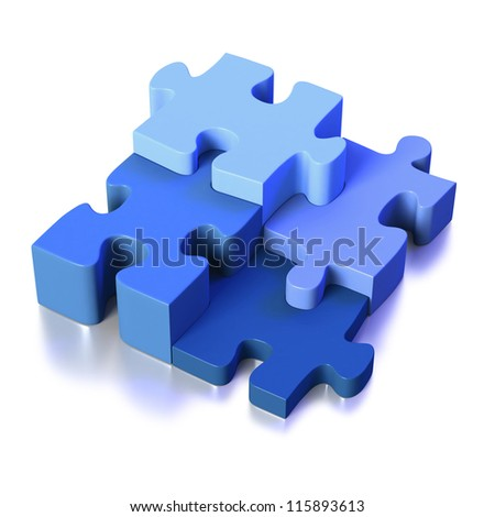 Four blue puzzle pieces linking as part of solution on white background
