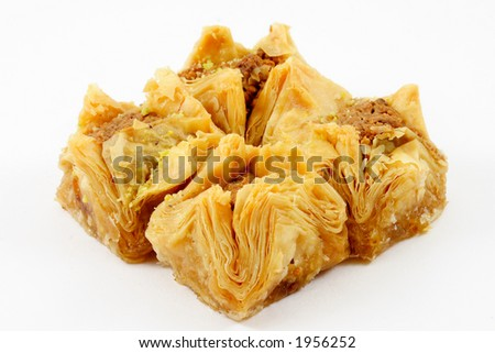Four Boukage (baklava) with white background