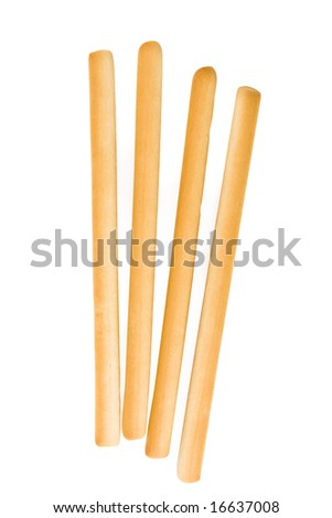Four bread sticks isolated on white with clipping path