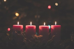 four burning candles with tradition festive cristian atmosphere