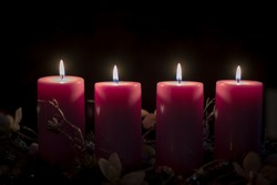 four burning candles with tradition festive cristian atmosphere, copy space