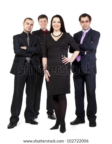 Four business people standing side by side in wearing suits isolated on white background