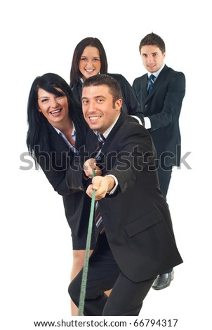 Four business people  team pulling rope isolated on white background