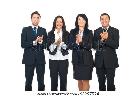 Four business people team standing in a row and clapping isolated on white background