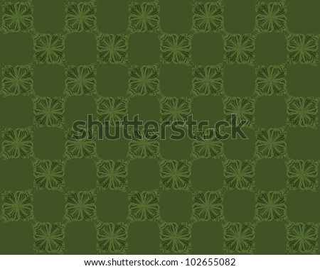 Four butterflies pasted at 45 degree angles, in a checkerboard pattern. Inverted dark to light green butterflies, deep dark green background./ Butterfly Interlock Checker #30 / Classic looking style.