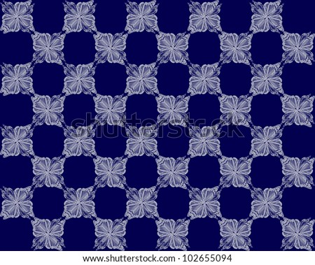 Four butterflies pasted at 45 degree angles, in a classic checkerboard pattern. Inverted blue to white butterflies, dark blue background./ Butterfly Interlock Checker #44 / Classic looking style.