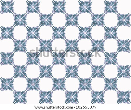 Four butterflies pasted at 45 degree angles, in a classic checkerboard pattern. Inverted, dark blue and gray butterflies, white background./ Butterfly Interlock Checker #10 / Classic looking style.