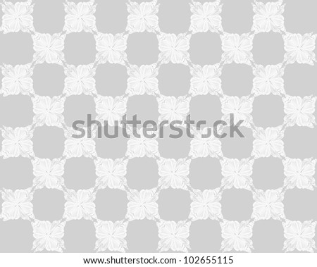 Four butterflies pasted at 45 degree angles, in a classic checkerboard pattern. Inverted white butterflies, very light gray background./ Butterfly Interlock Checker #41 / Classic looking style.