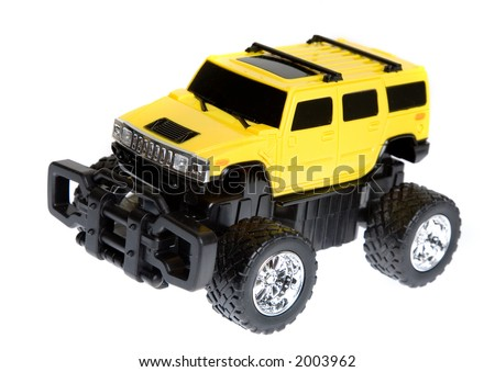 four by four remote control car over a white background