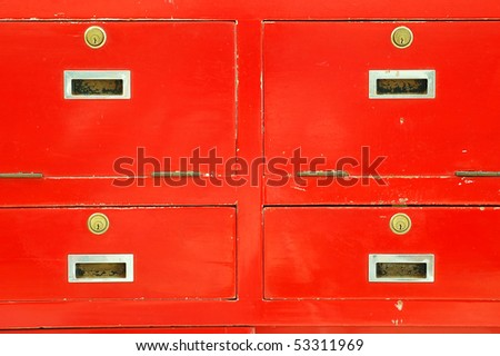 Four Cabinet Red lock