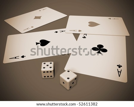 four cards and two dices in brown