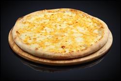 Four Cheese Pizza, mozzarella, cheddar, cream on a black background
