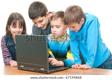Four children are discussing a laptop data; isolated on the white background