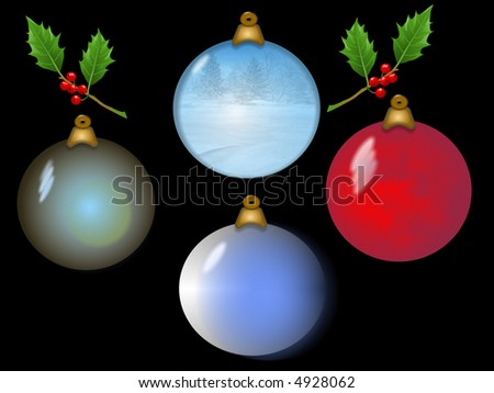 Four Christmas ornaments with sprigs of holly.Background is on a work path