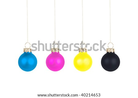 Four Christmas tree balls, CMYK color space