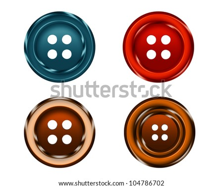four Cloth buttons isolated on white background.
