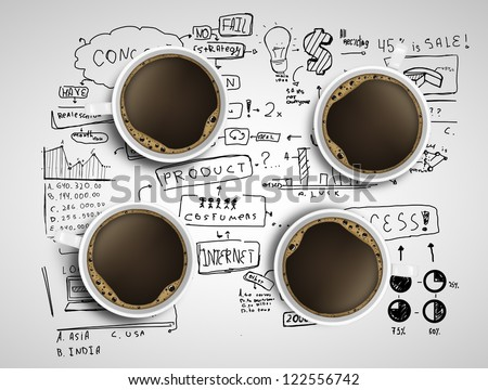 four coffee cups and business strategy on a white background