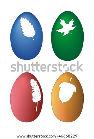 Four color easter egg with leafs