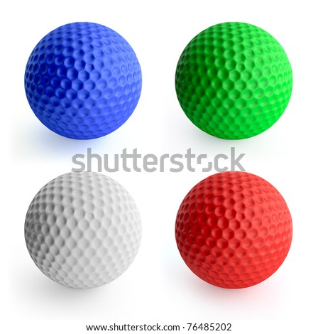 Four color golf ball red, green, blue, white. Isolated on white