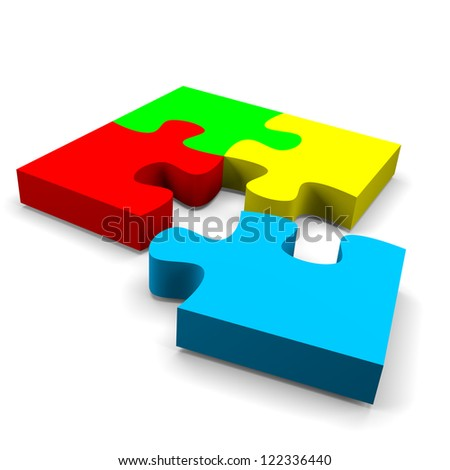 four color puzzle pieces combined solution concept on white background