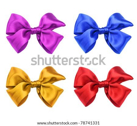 Four-color satin ribbon bows - stock photo