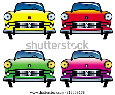 Four colored old cars. Raster clip art.