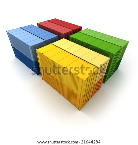 Four colorful blocks of cargo containers