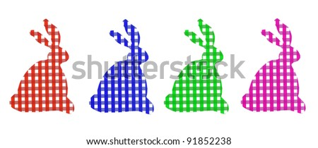 Four Colorful Easter Bunnies Rabbits in red blue green and pink gingham checkered patterns.