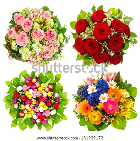 four colorful flowers bouquet for Birthday, Wedding, Mothers Day, Easter
