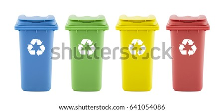 four colorful recycle bins...