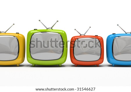 Four colorful television sets isolated on white background 3D rendering