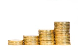 Four Columns of Golden Coins on White Background. Money Growth Concept.