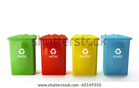 Four containers for recycling paper, metal, plastic and glass