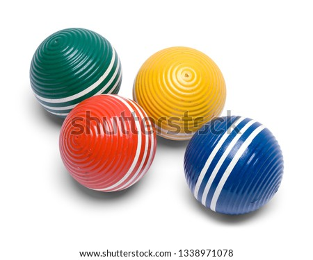 Four Croquet Balls Isolated on White Background.