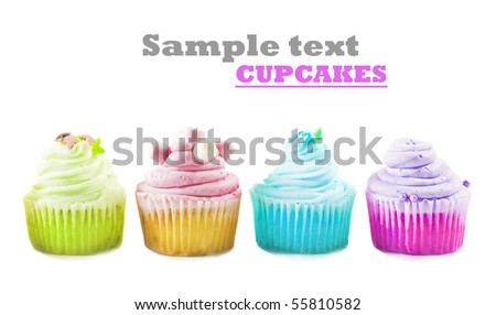 Four cupcakes on a white background with space for text