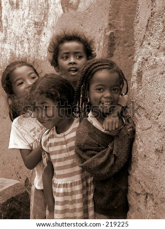 Four curious girls in Fianarantsoa,Madagascar. April 2004.