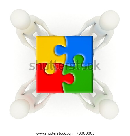 Four 3d men holding colorful, assembled jigsaw puzzle pieces
