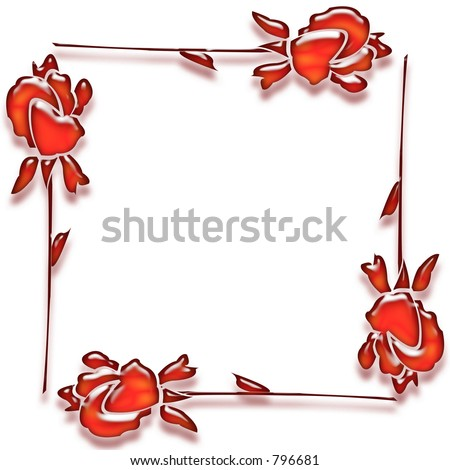 Four 3D roses form a romantic border or frame on a white background ...