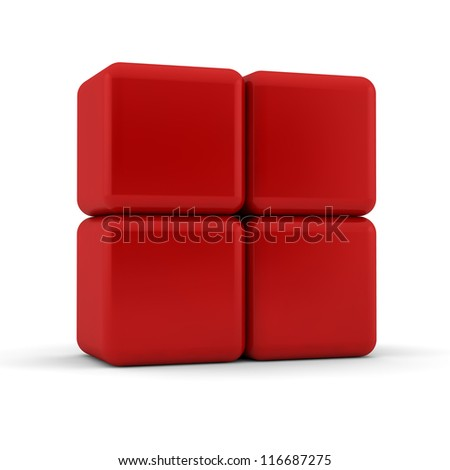 Four 3d simple red cubes with blank faces and equilateral sides that are bevelled , rounded and shaped stacked one on top of the other in a 2x2 formation on a white background