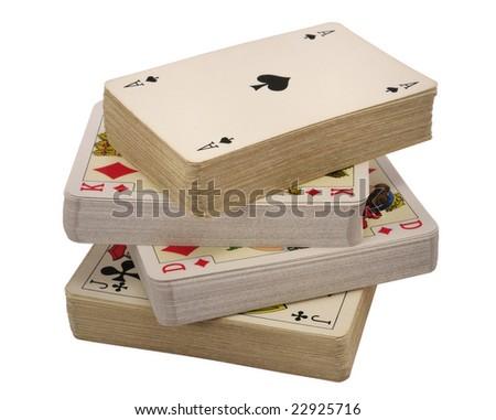 vier pakken kaarten