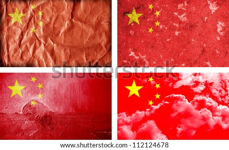 Four different China grunge flags