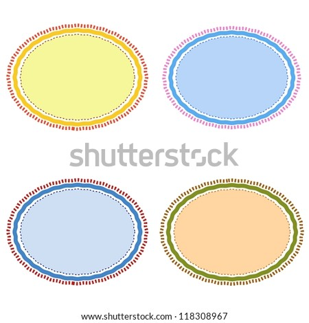 Four Different Color Retro Brown, Blue, Light Blue and Yellow with Copy Space for Add Content or Picture