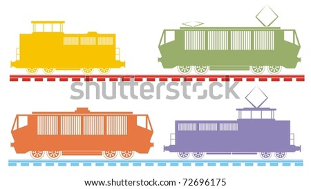 Four different-colored rail engines / locomotives - color raster illustration