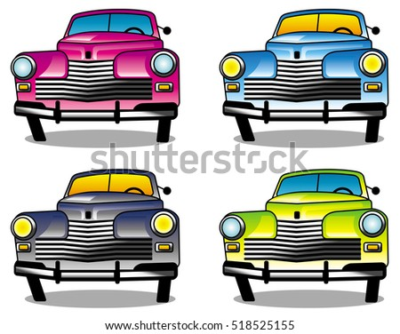 Four different colored vintage cars. Raster clip art.