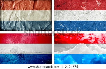 Four different Holland grunge flags
